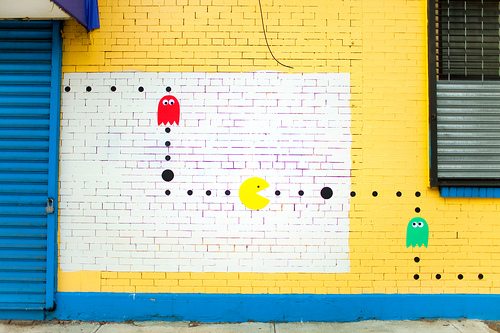 Pac Man Graffiti Using Construction Paper!