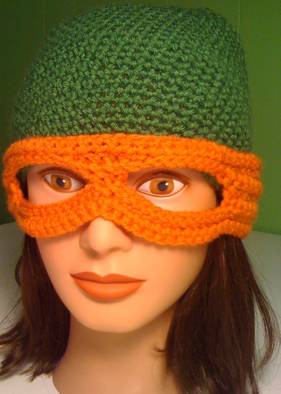 Free Crochet Pattern For Ninja Turtle Hat With Mask : Gallery For > Ninja Turtle Eye Mask Pattern