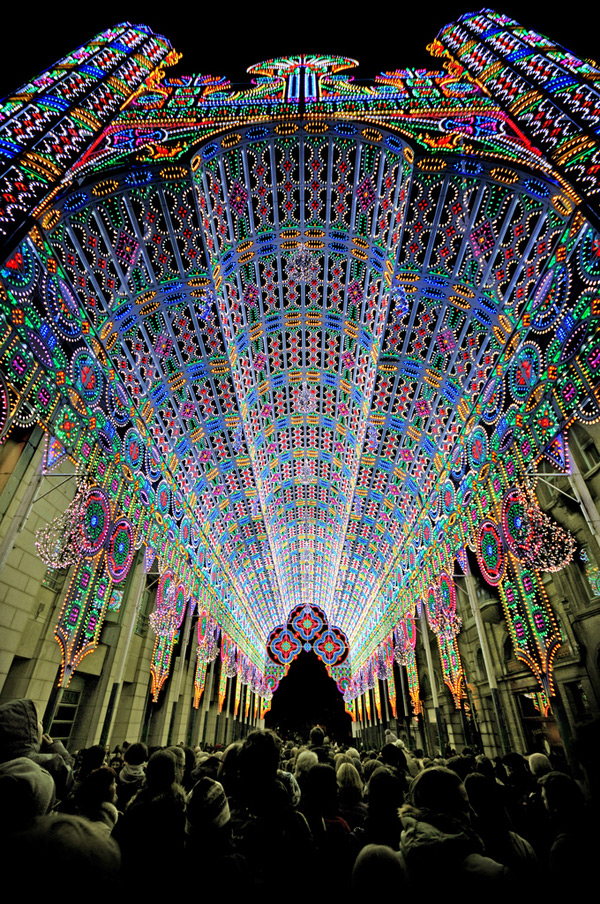 A Cathedral Made from 55,000 LED Lights lighting installation art architecture