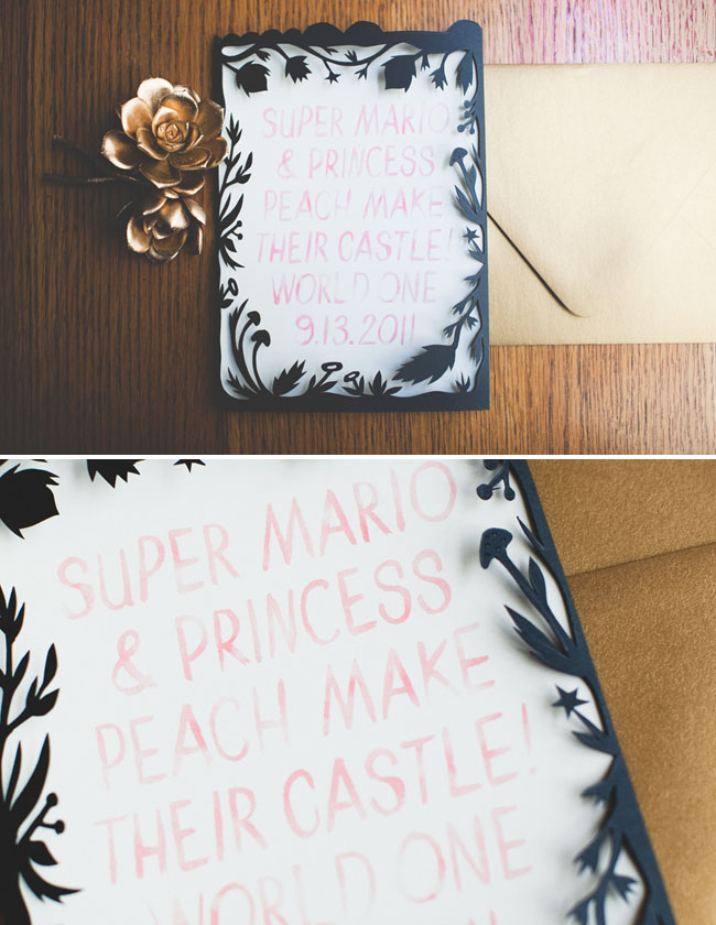 watercolor and cut paper wedding invitation