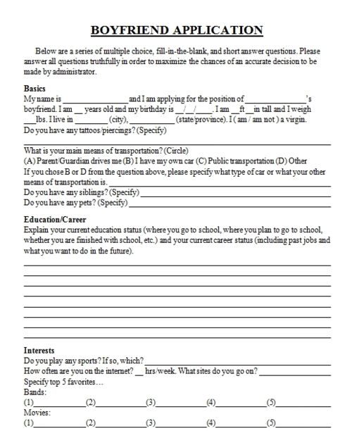 Boy Friend Application Form (Found on Tumblr)