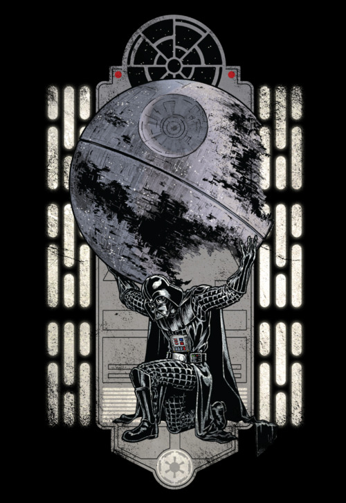 The weight of the entire Empire lies on the shoulders of the feared / awesome Darth Vader. Chris Kawagiwa&amp;#8217;s killer Atlas / Star Wars shirt design is now on sale now at WeLoveFine for $25.&lt;br /&gt;<br /> Related Rampages: Steam Punk (More)&lt;br /&gt;<br /> Darth Atlas by Chris Kawagiwa (deviantART) (Facebook) (Twitter)