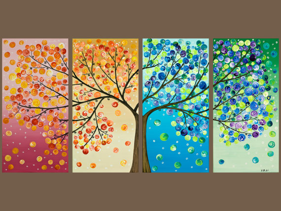 "48x24 Original Modern Abstract Heavy Texture Impasto Acrylic Painting Landscape Tree Wall Decor ""365 Days of Happiness"""