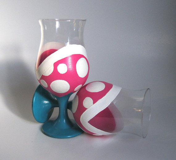 Piranha Plant Wine Glasses - Hand Painted Mario Inspired Set of 2 Glasses
