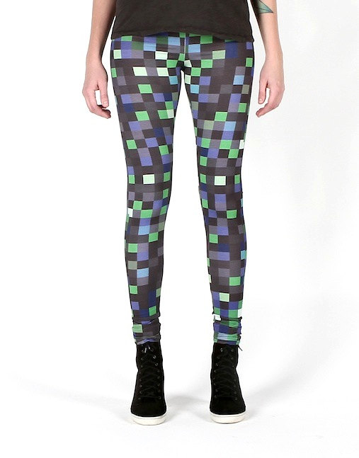 BAMBOO fiber/ organic cotton leggings. ECO friendly. GREEN pixels pattern. Women size sm