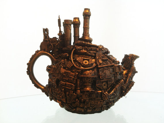 techno steampunk teapot sculpture