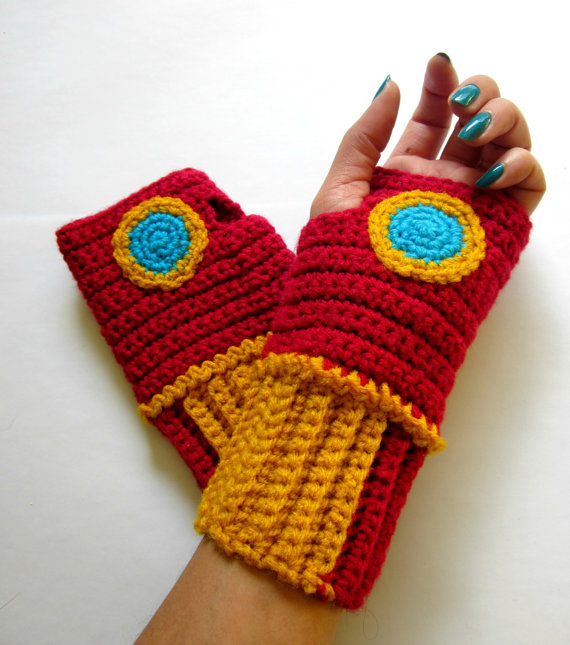 Power Wristies. Iron Man Inspired Wristwarmers. Superhero Fingerless Gloves. Crochet Avengers Marvel Comics Accessory. Cosplay.