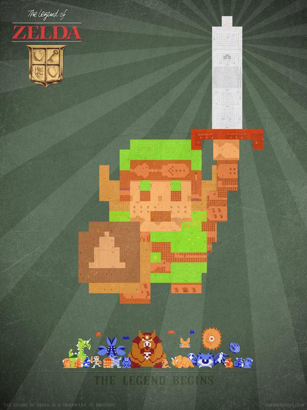 Zelda 8bit Theatre Hookshot mini Pixel Art: 8 Bit Encore ~ The Legend of Zelda (NES)