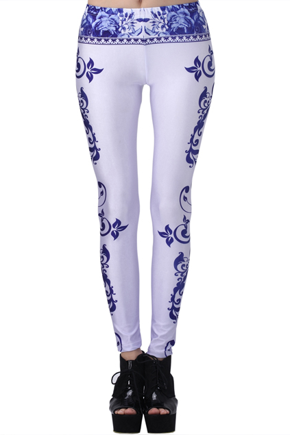ROMWE Blue And White Porcelain Print Leggings