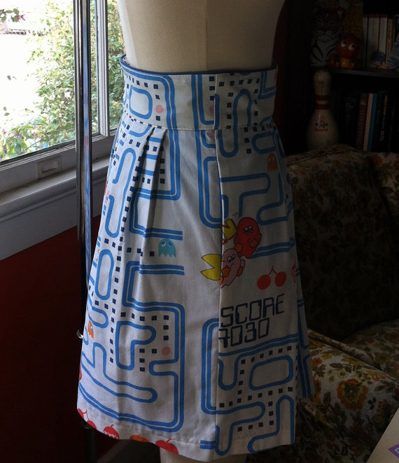 Pac Man Highwaisted Skirt OOAK