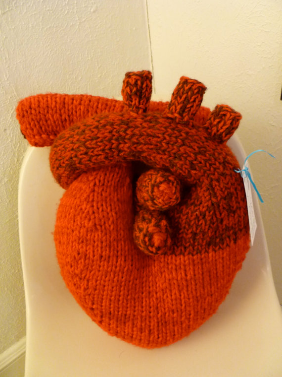 "Handknit ""I give you my heart"" Pillow - Anatomical Heart"